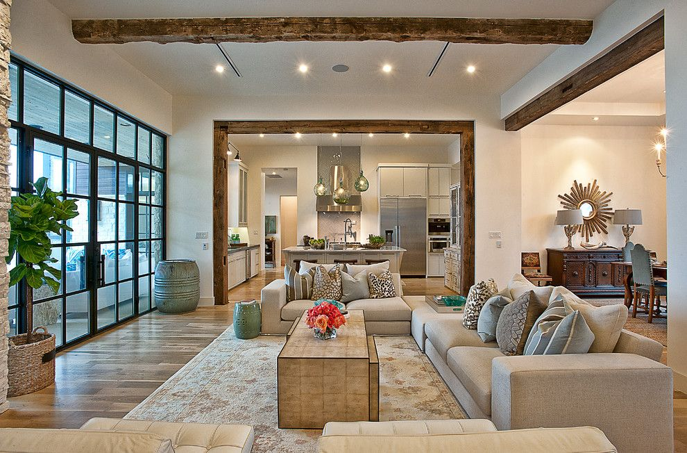 Basketball Court Layout for a Transitional Living Room with a Wood Beams and Cat Mountain Residence by Cornerstone Architects