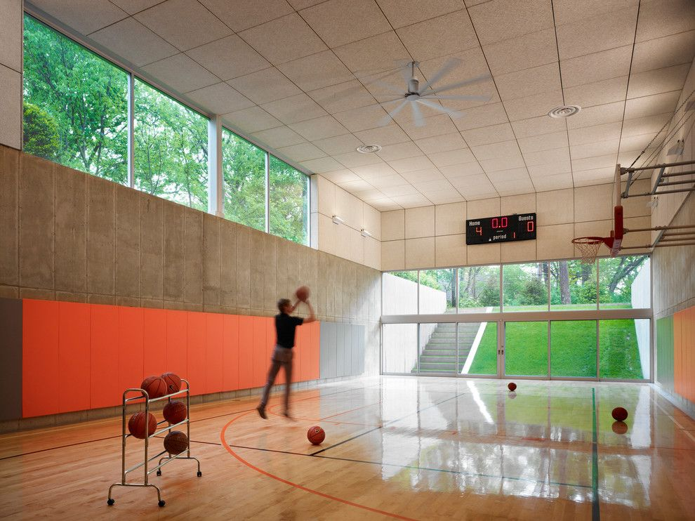 Basketball Court Measurements for a Contemporary Home Gym with a Recessed Lighting and Fleetwood Distinguished Photos by Fleetwood Windows & Doors