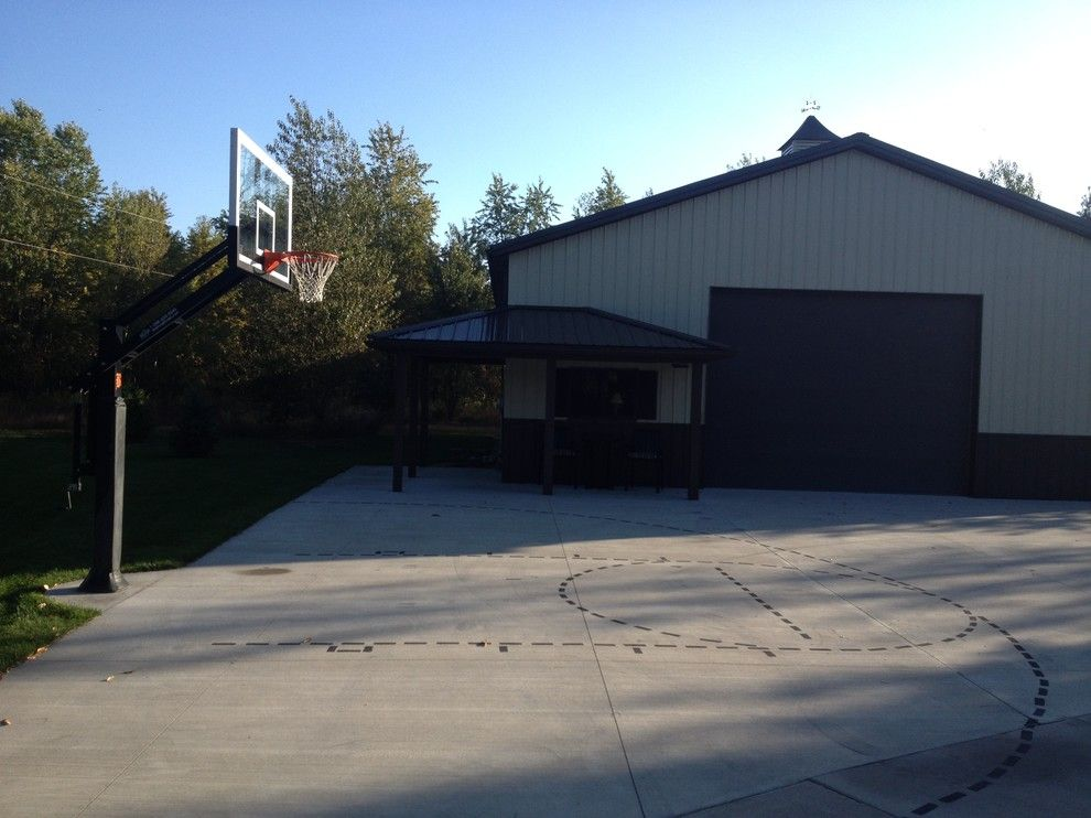 Basketball Court Measurements for a Traditional Landscape with a Half Court and Steven M's Pro Dunk Platinum Basketball System on a 45x45 in Belding, Mi by Pro Dunk Hoops