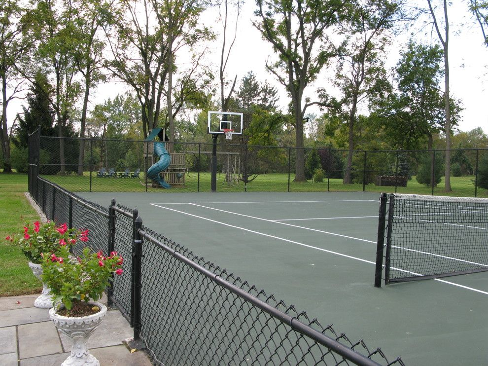 Basketball Court Measurements for a Traditional Landscape with a Macungie and Kurt S's Hercules Platinum Basketball System on a 70x120 in Macungie, Pa by Pro Dunk Hoops