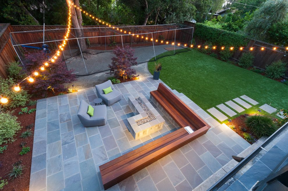 Batting Cage Miami for a Contemporary Spaces with a Concrete Firepit and Sleek and Stylish in Piedmont by Rock Paper Scissors Landscape Design Build