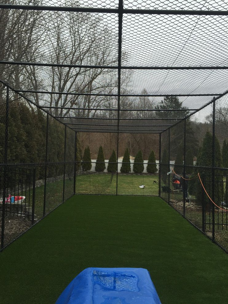 Batting Cage Miami for a Traditional Landscape with a Batting Cage and Residential Battimg Cage by Turf Tek Usa