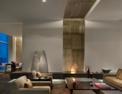 Bayou City Event Center for a Contemporary Living Room with a Concrete Walls and Penthouse Residence by Cecil Baker + Partners