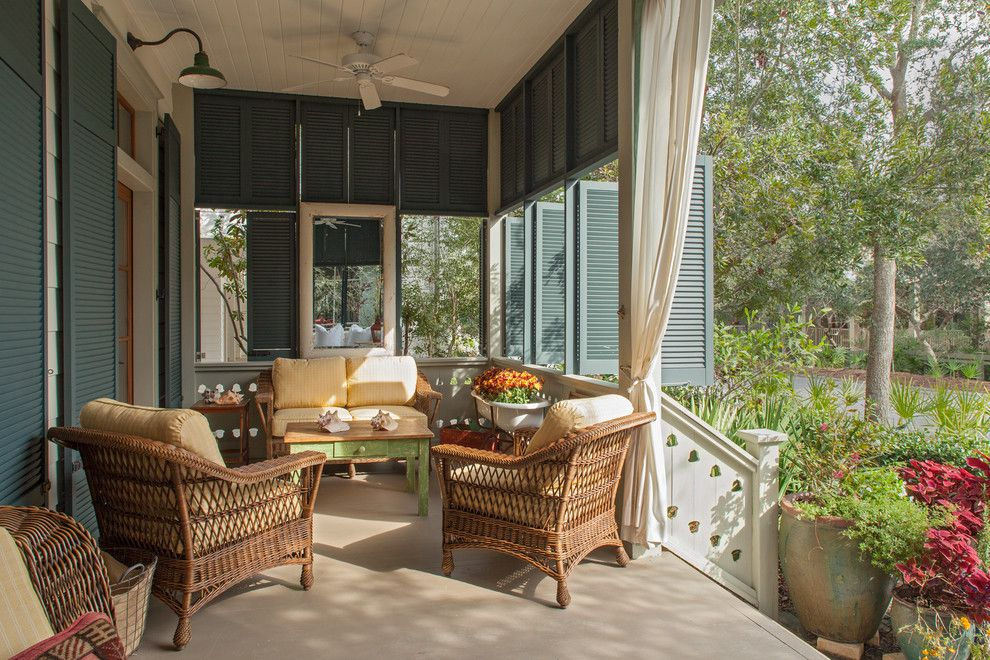 Beach Cottages San Diego for a Beach Style Porch with a Louvered Shutters and Fish Camp Beach Cottage by Historical Concepts