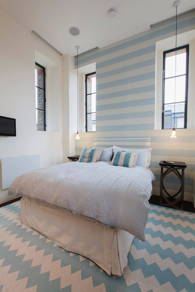 Bedsonline for a Contemporary Bedroom with a Cool Colors and Kennington Water Tower by Joel Antunes Photography