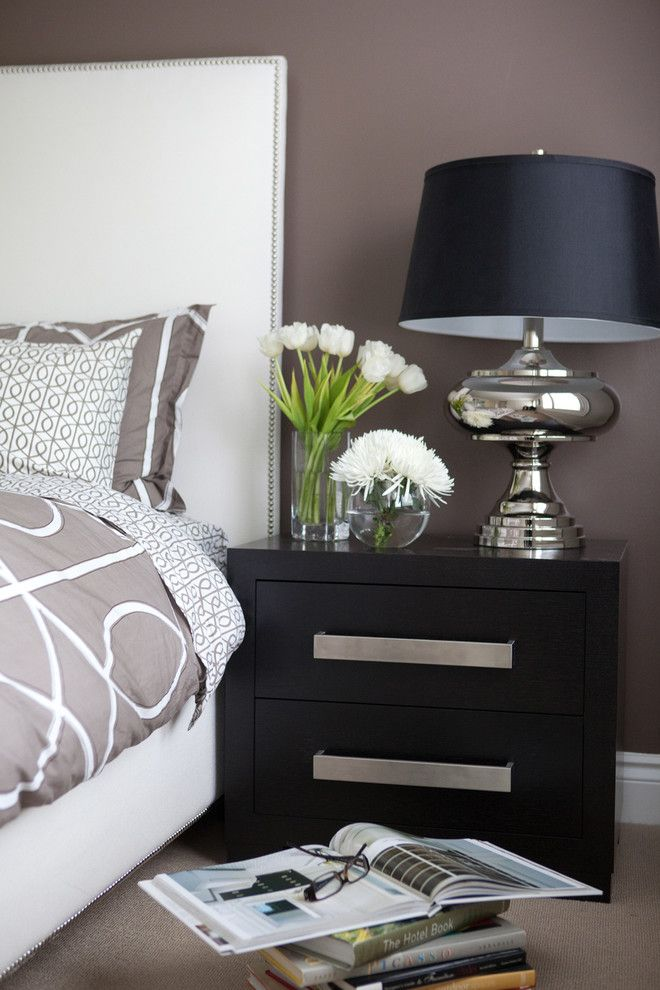 Bedsonline for a Contemporary Bedroom with a Nightstand and Custom Millwork by Jodie Rosen Design