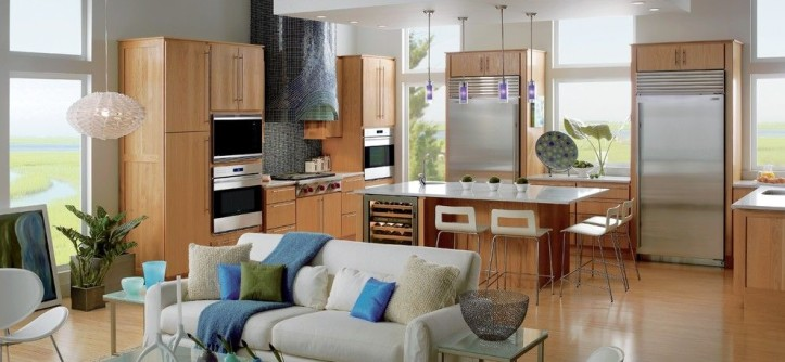 Behr Furniture for a Contemporary Kitchen with a White Sofa and Kitchens by Sub-Zero and Wolf