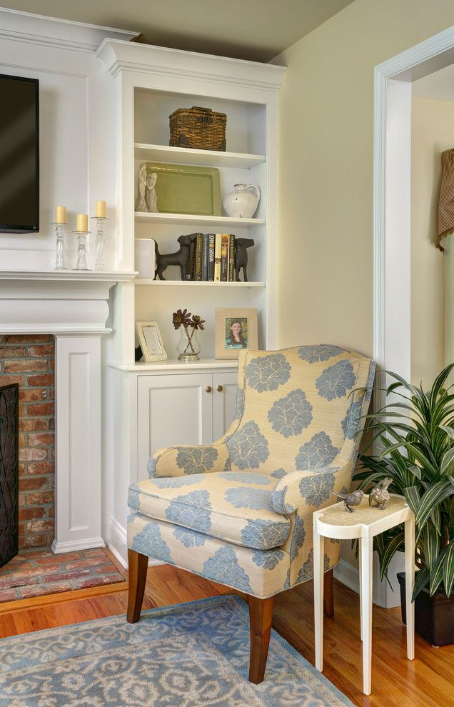 Belden Brick for a Transitional Family Room with a Linen Window Treatment and Ridgefield Home   Traditional/colonial by Rachel Belden Interior Design Llc