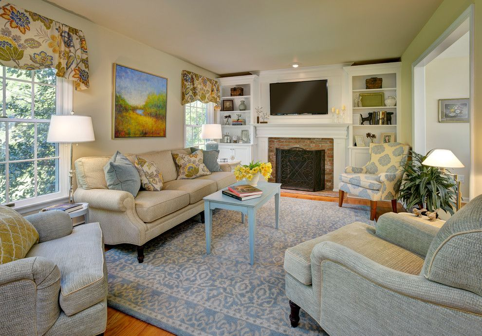 Belden Brick for a Transitional Family Room with a Wall Art and Ridgefield Home   Traditional/colonial by Rachel Belden Interior Design Llc