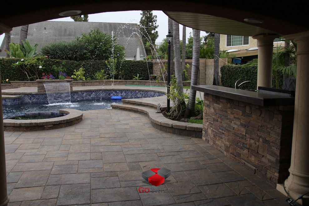 Belgard Hardscapes for a Traditional Patio with a Spa Coping and Pool Spa Redo Patio Steps Bbq Fire Pit Walls Driveway View 27 by Go Pavers