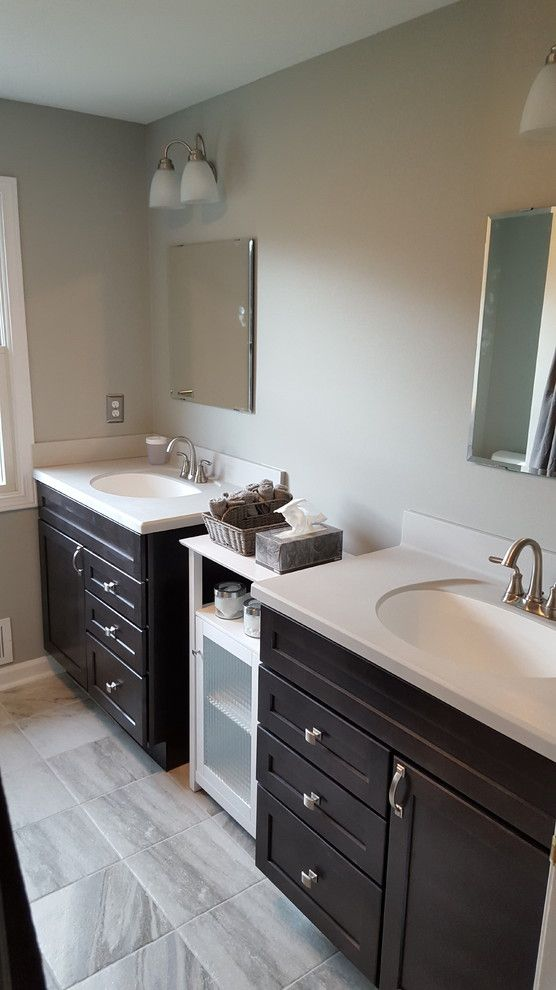 Bell Tower Hotel Ann Arbor for a Traditional Bathroom with a Sherwin Williams and Ann Arbor Dual Vanity Guest Bath by Exemplar Carpentry & Home Repair