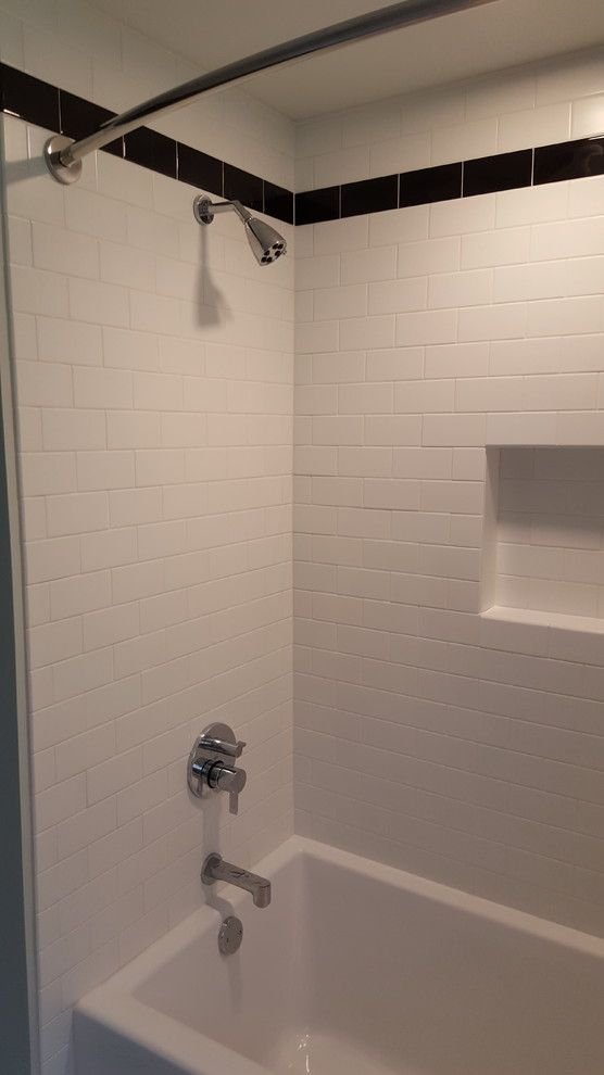 Bell Tower Hotel Ann Arbor for a Transitional Bathroom with a 3x6 Subway Tile and Ann Arbor Subway Tile Shower/octogan Tile Floor by Exemplar Carpentry & Home Repair