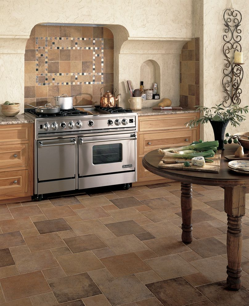 Bella Terra Theater for a Modern Kitchen with a Beige Tile Floor and Kitchen by Carpet One Floor & Home