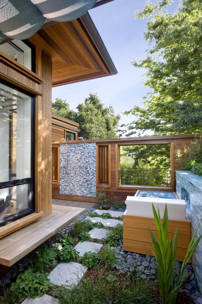 Bellagio Day Spa for a Contemporary Patio with a Natural Wood and Palo Alto Green Point Rated House by Cathy Schwabe Architecture