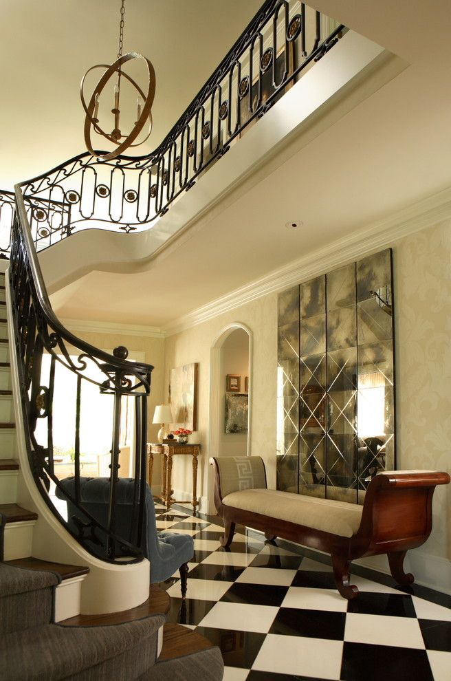 Belle Hall Apartments for a Traditional Entry with a Damask Pattern and Tuxedo Road by Dillard Pierce Design Associates