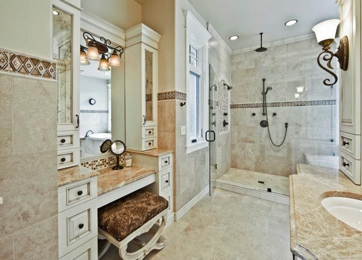 Bellevue Towers for a Traditional Bathroom with a Marble Slabs and Master Bathroom by Artifact Interior Design