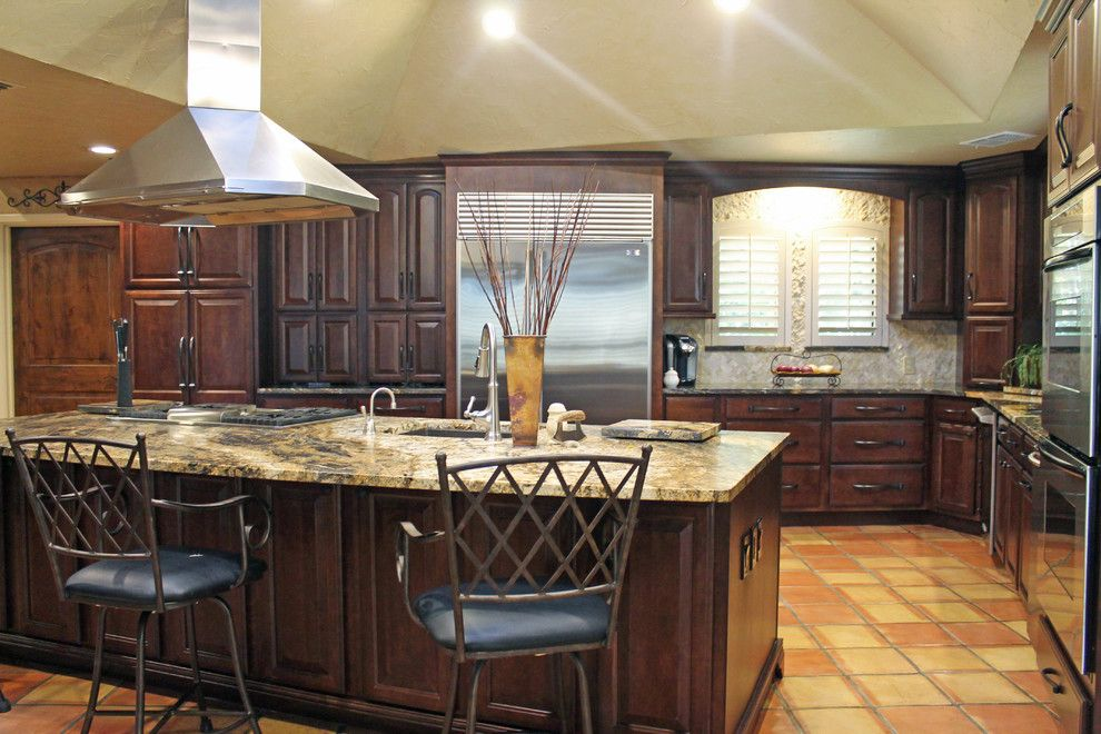 Belterra Austin for a Traditional Kitchen with a Island Hood and Traditional Rustic Kitchen Design by Tukasa Creations, Inc.