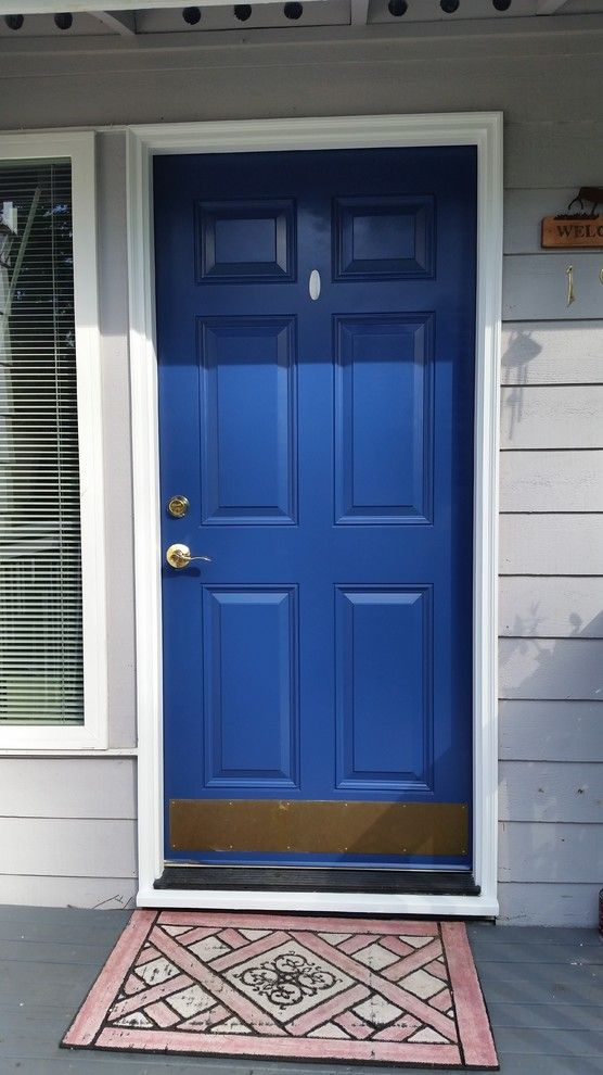 Benjamin Moore Seattle for a Midcentury Entry with a Front Door Repaint and Front Door by Piece of Cake Painting
