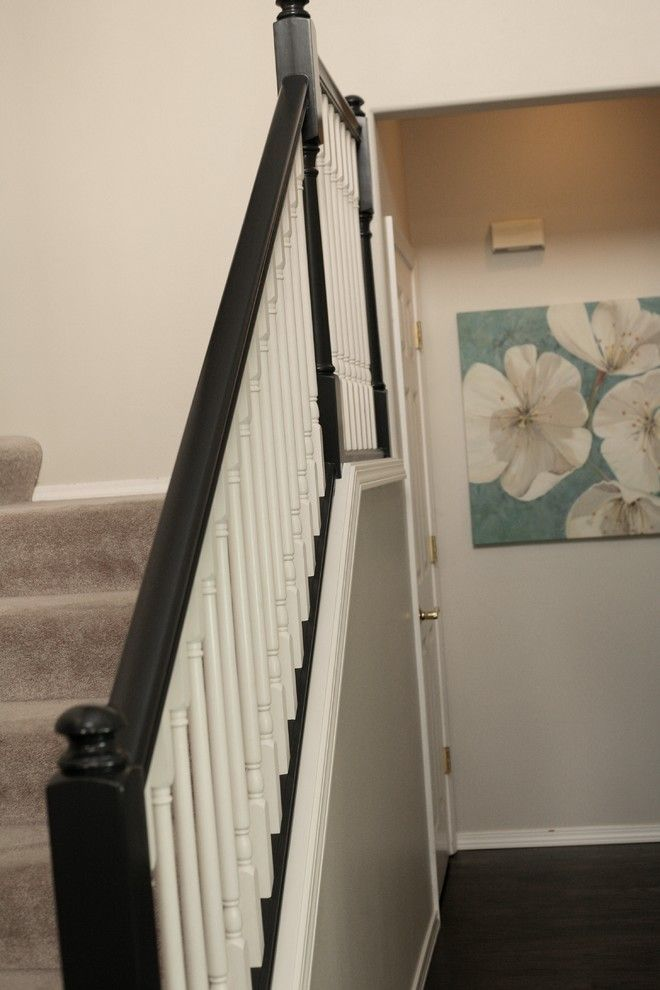 Benjamin Moore Seattle for a Transitional Staircase with a Benjamin Moore White Dove and Banister Before and After by Seaton's Inc.  General Contractors and Design