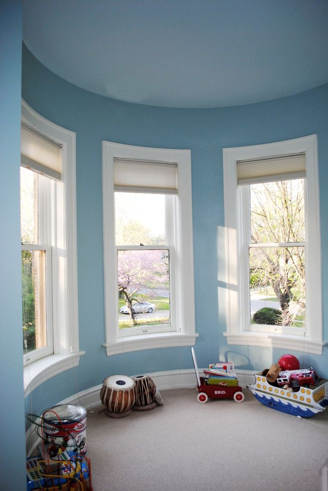 Benjamin Moore Seattle for a Victorian Bedroom with a Benjamin Moore Greenhow Blue and Queen Anne Victorian, Fairfield, Iowa by Belltown Design