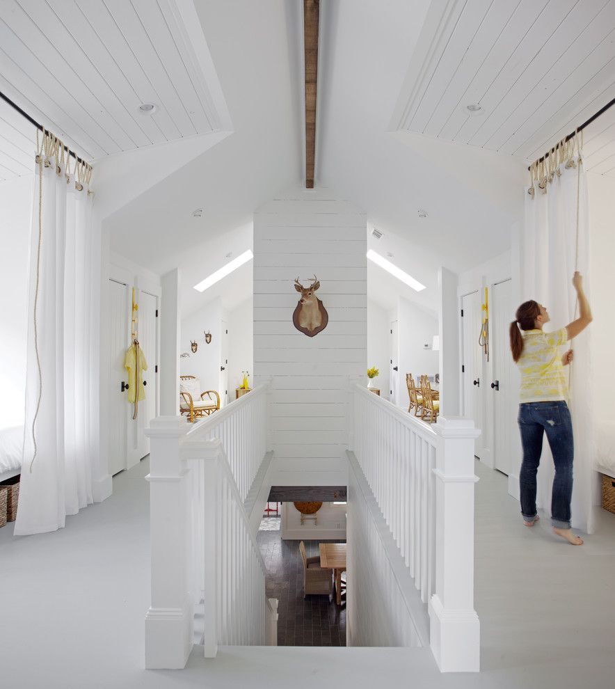 Benjamin Moore Whites for a Beach Style Hall with a Family Gathering and Sleeping Loft by Rethink Design Studio