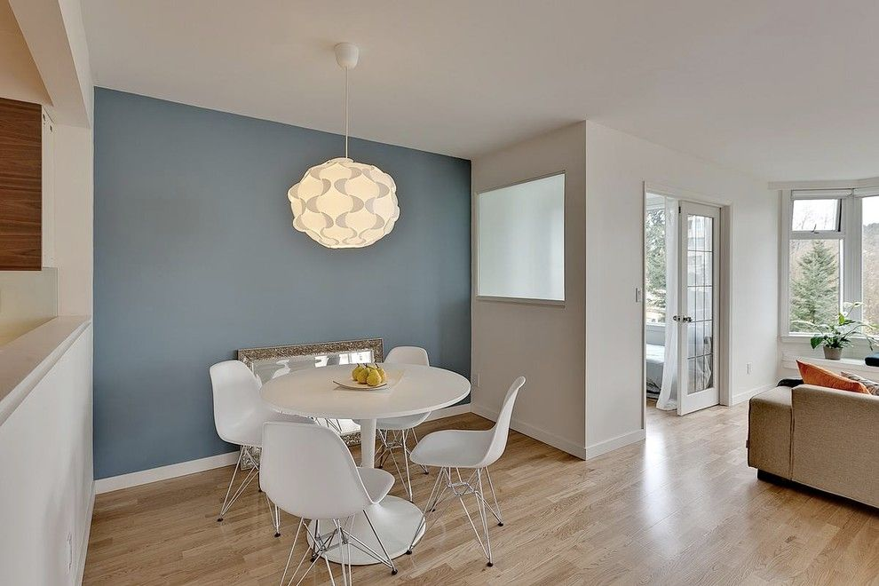 Benjamin Moore Whites for a Modern Dining Room with a Oak and Halifax St by Mike Strutt Design