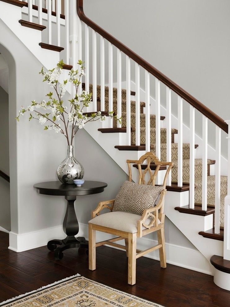 Benjamin Moore Whites for a Traditional Staircase with a Cool Gray Walls and New Traditional Family Residence by Molly Quinn Design