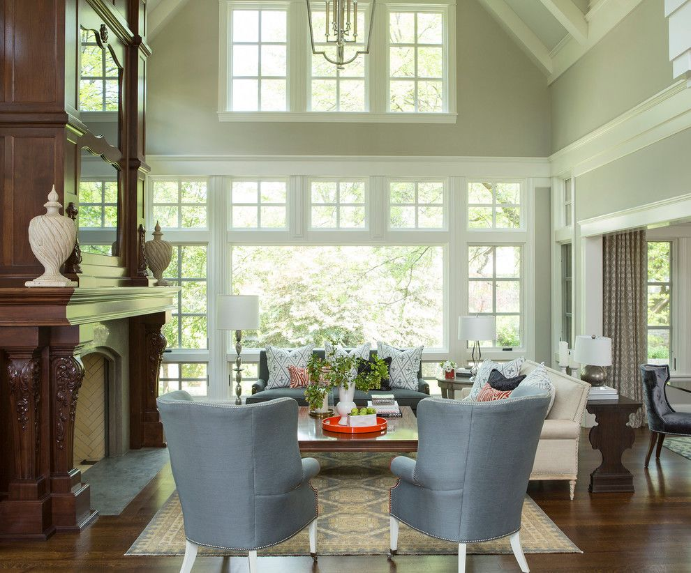 Benjamin Moore Whites for a Transitional Living Room with a Dark Wood Floor and Bywood Street Residence by Martha O'hara Interiors