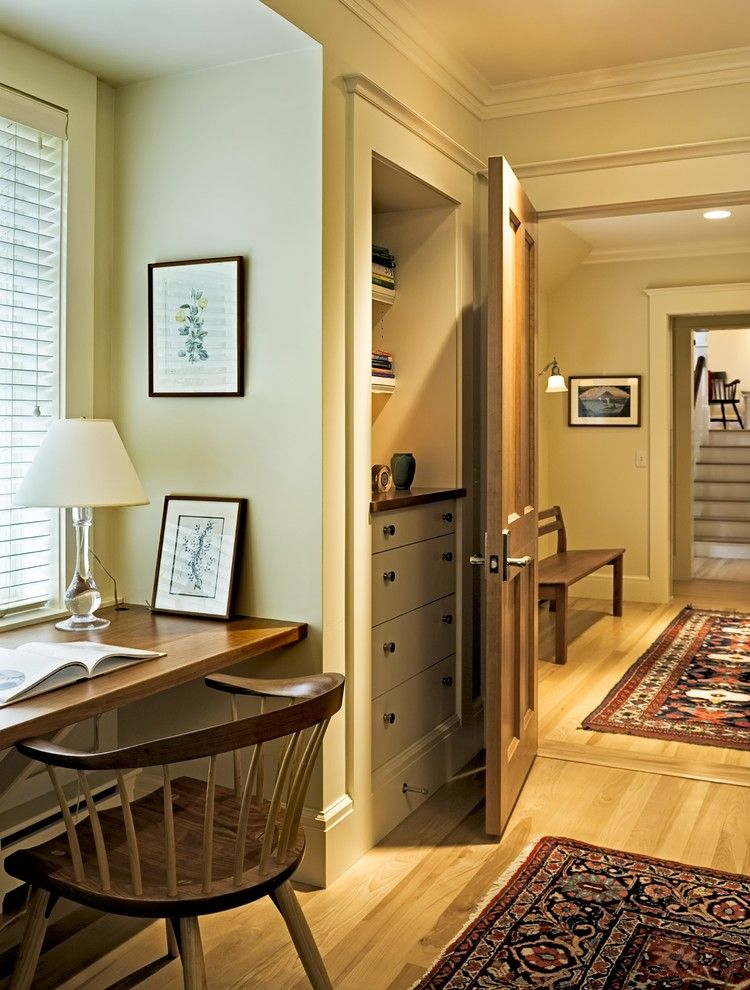 Benjamin Moore Whites for a Victorian Home Office with a Built in Desk and Shingle Style Home in Hanover Nh by Smith & Vansant Architects Pc