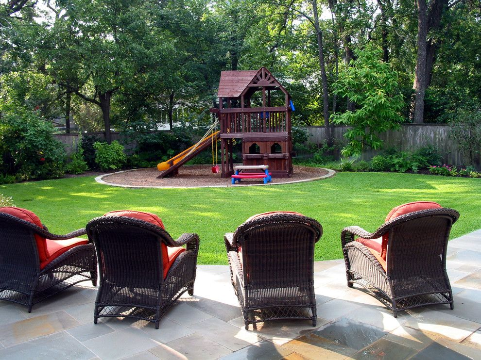 Berns Garden Center for a Traditional Landscape with a Red Cushions and the Children Upfront and Center Stage by David Morello Garden Enterprises, Inc.