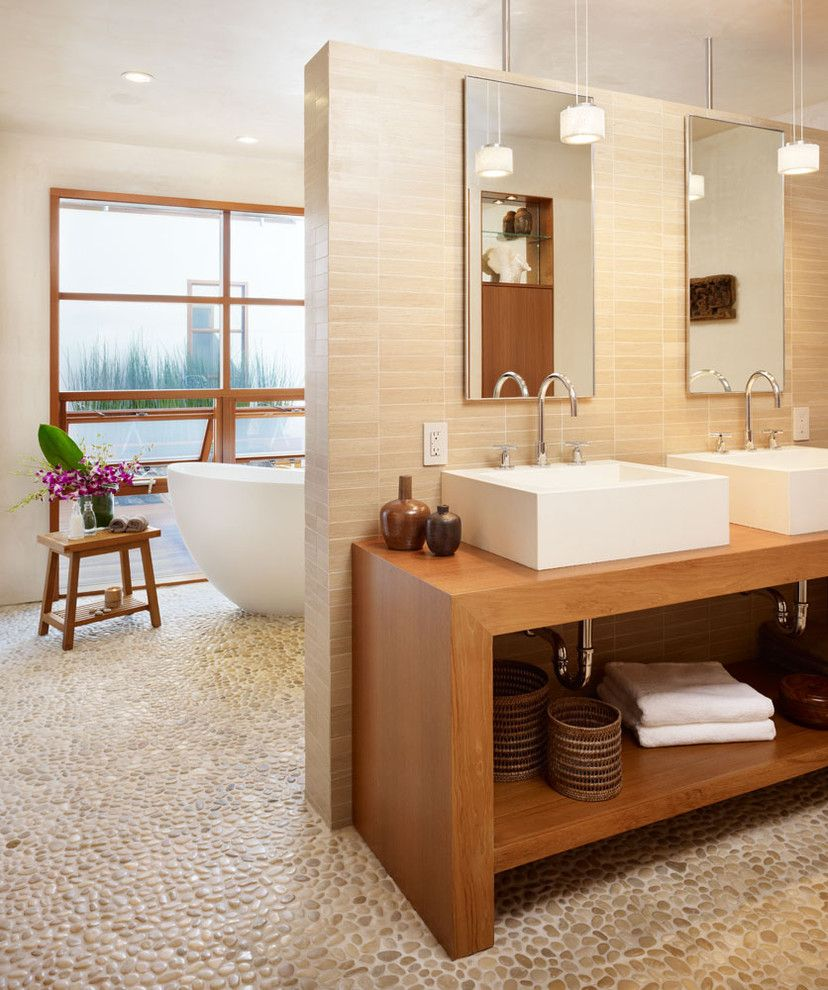 Best Buy Carmel Mountain for a Tropical Bathroom with a Double Vanity and Bathroom by Rockefeller Partners Architects