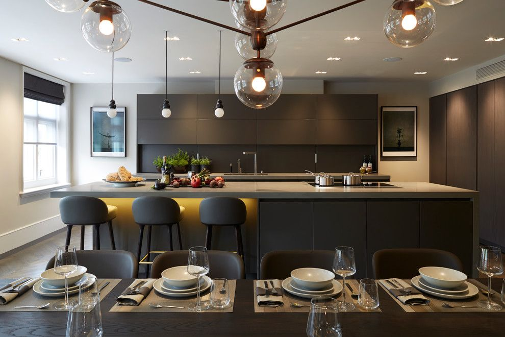 Best Buy Joliet Il for a Contemporary Kitchen with a Waterfall Countertop and Knightsbridge Penthouse by Staffan Tollgard Design Group