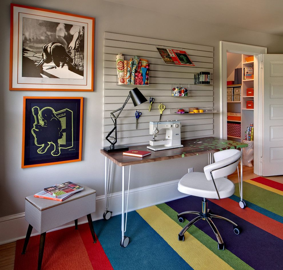Best Buy Mechanicsburg Pa for a Eclectic Home Office with a Sewing Room and Sewing Room/gift Wrapping Room by Twin Cities Closet Co.