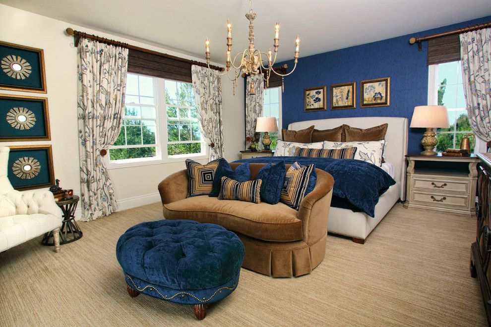 Best Buy Watertown Ma for a Traditional Bedroom with a Dark Blue Throw Pillow and Master Bedroom Retreat by Rejoy Interiors, Inc.