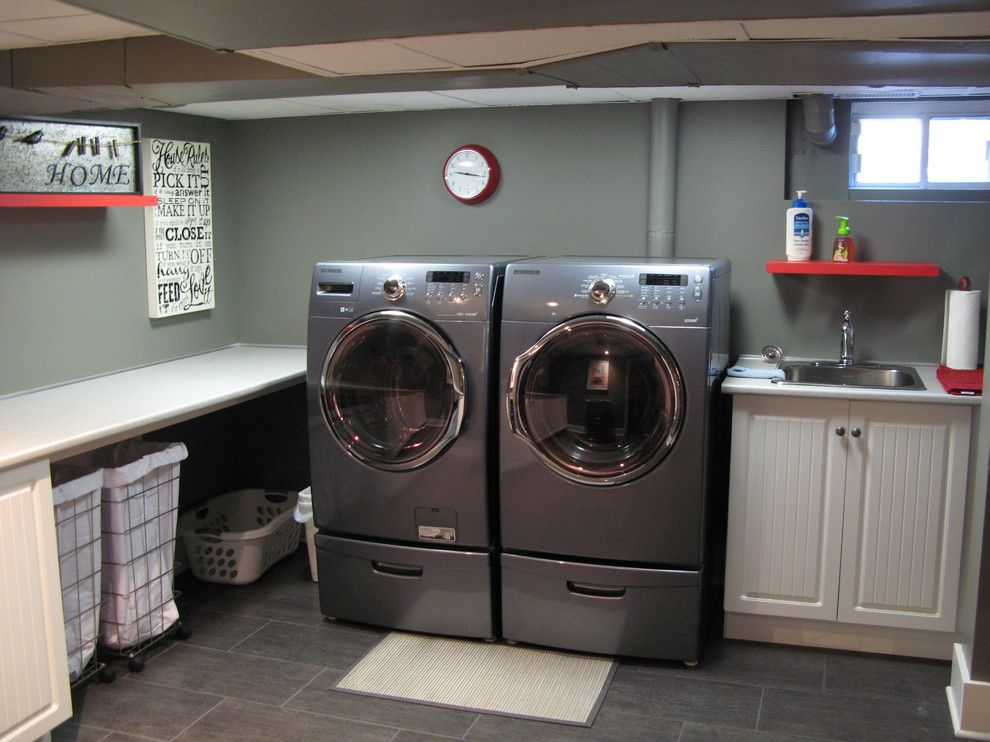Best Smelling Laundry Detergent for a Traditional Laundry Room with a Basement and Basement by Construction Havitat