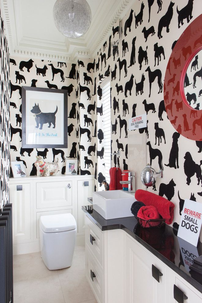 Best Way to Unclog a Toilet for a Eclectic Powder Room with a Cloakroom Wallpaper and Mock Georgian Home by Hamiltons International Limited
