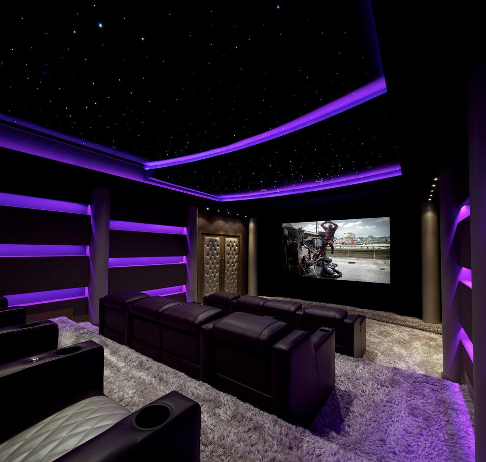 Bethesda Movie Theater for a Contemporary Home Theater with a Illuminated Ceiling and José Reyes Theatre by Acousticsmart Home Theatre Interiors