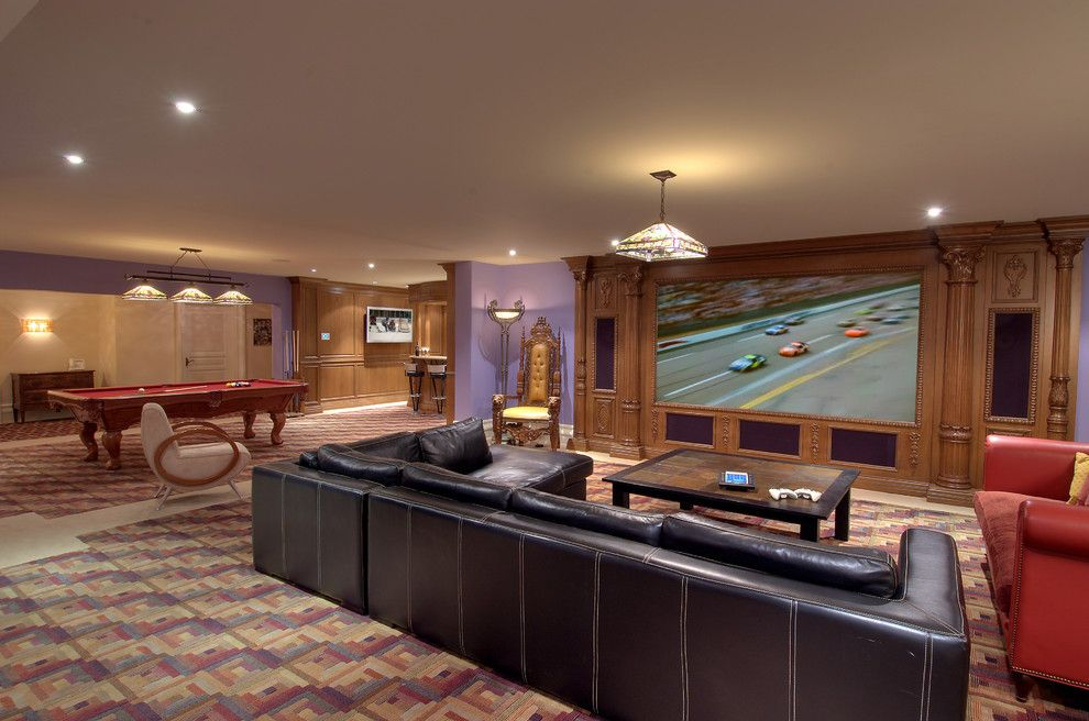Bethesda Movie Theater for a Contemporary Home Theater with a Pool Table and Chart Theater by H2 Systems Inc.
