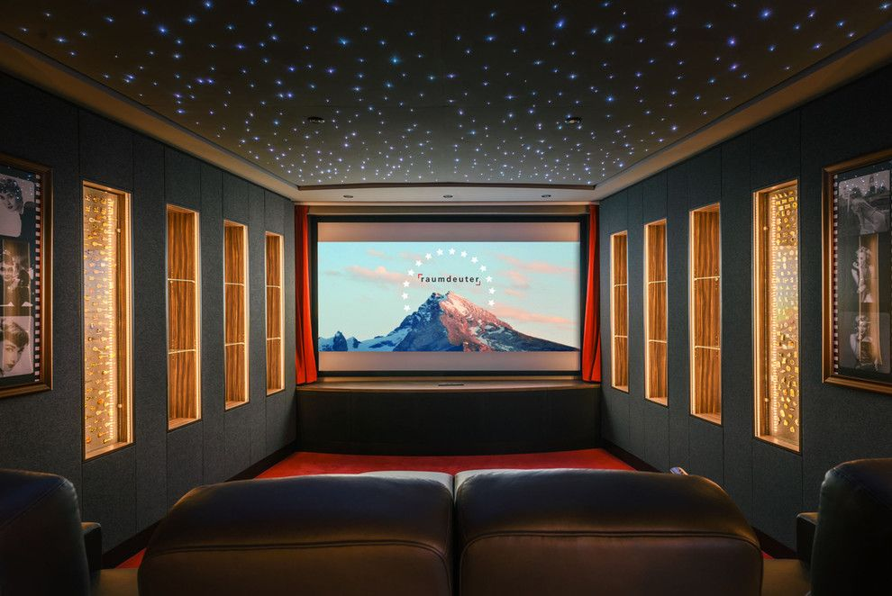 Bethesda Movie Theater for a Contemporary Home Theater with a Vitrinen and Home Cinema Berlin by Raumdeuter