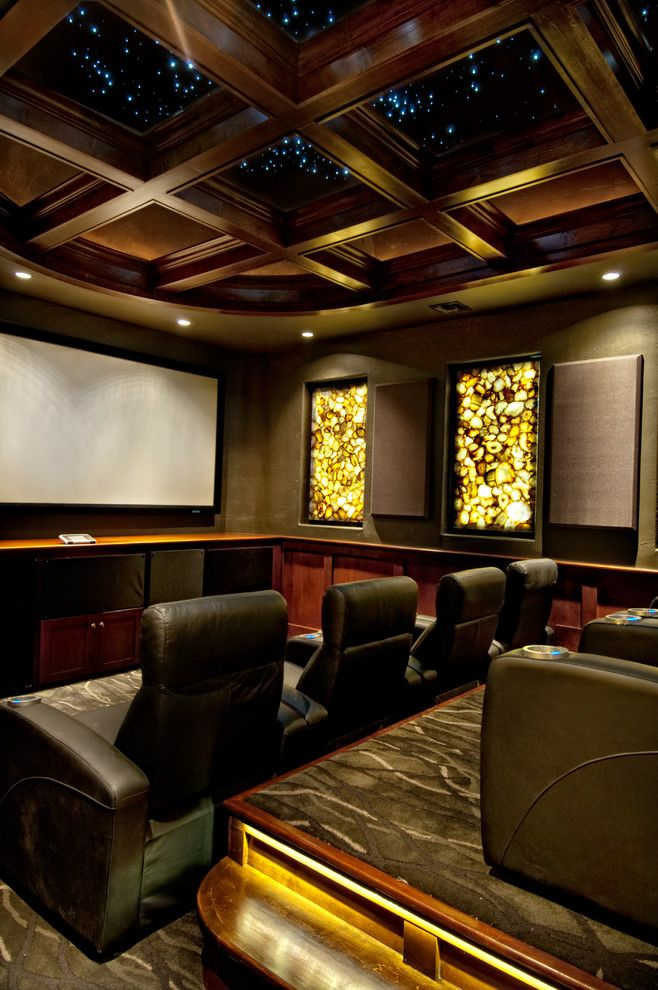 Bethesda Movie Theater for a Mediterranean Home Theater with a Gray Carpet and Sater Design Collection's 6962
