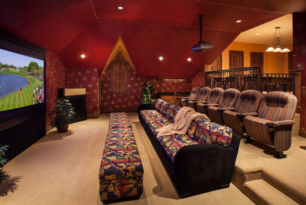 Bethesda Movie Theater for a Mediterranean Home Theater with a Projector and Villa Corsini by Kurtz Homes Naples