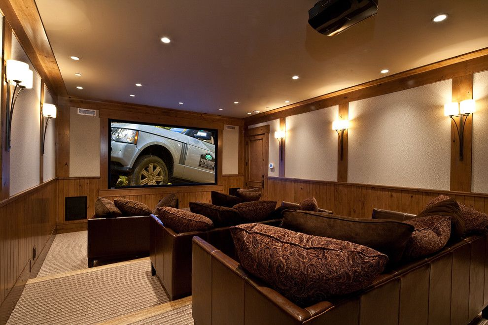 Bethesda Movie Theater for a Traditional Home Theater with a Brown Throw Pillow and Theater by Jaffa Group Design Build