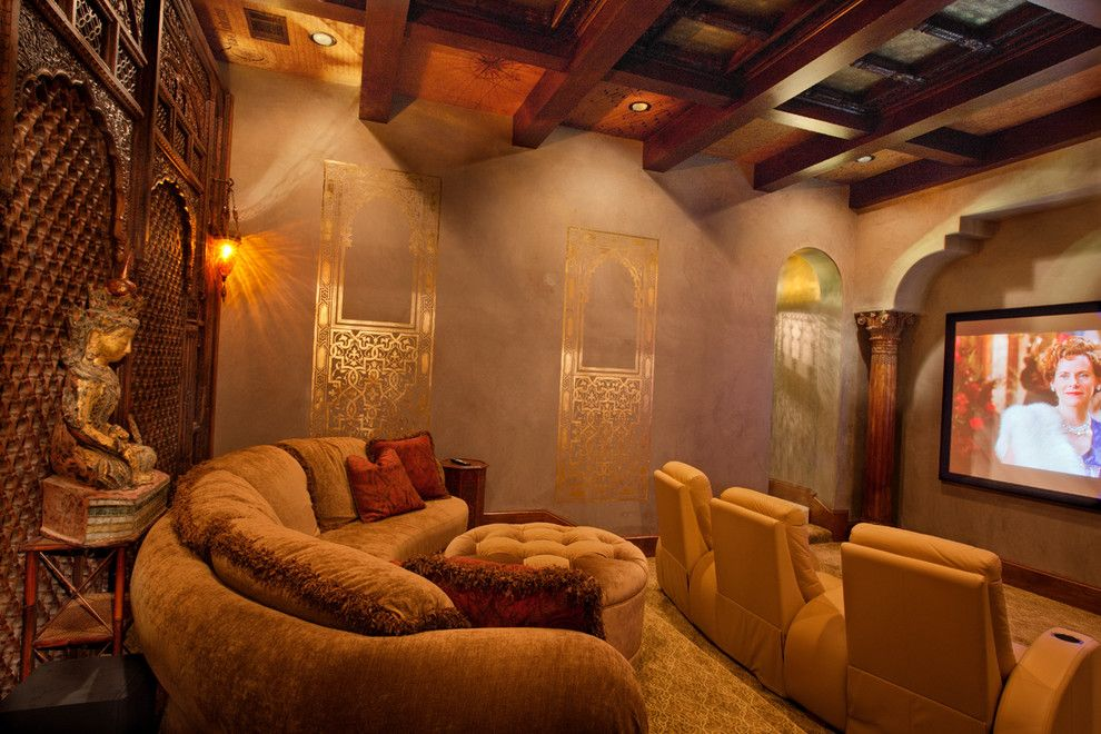 Bethesda Movie Theater for a Traditional Home Theater with a Carpet and Villa Ascosa by My Villa Austin