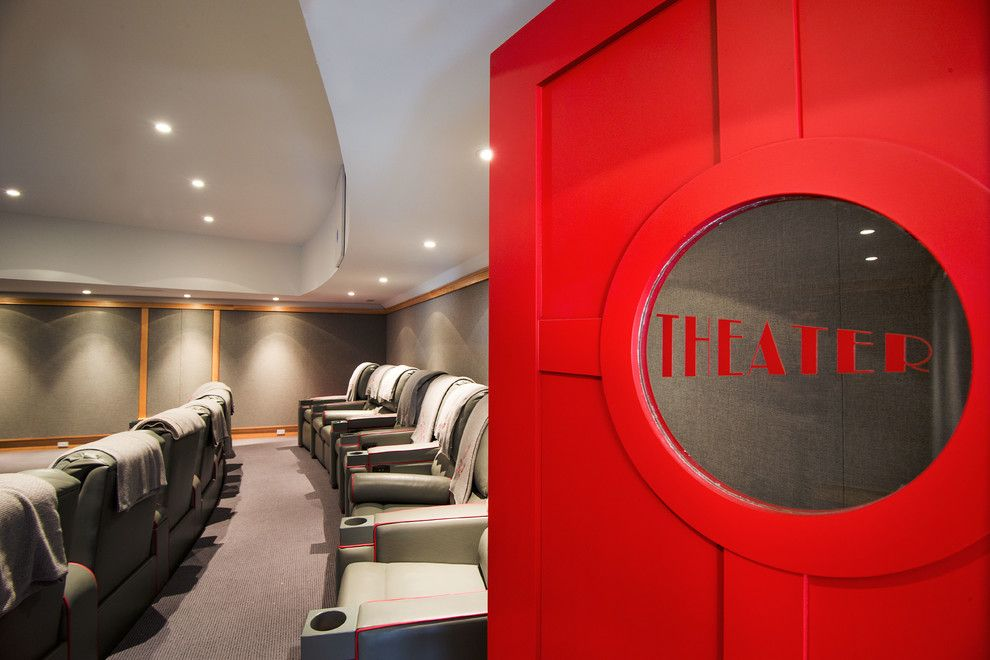 Bethesda Movie Theater for a Traditional Home Theater with a Lake Home and Theater by Phinney Design Group