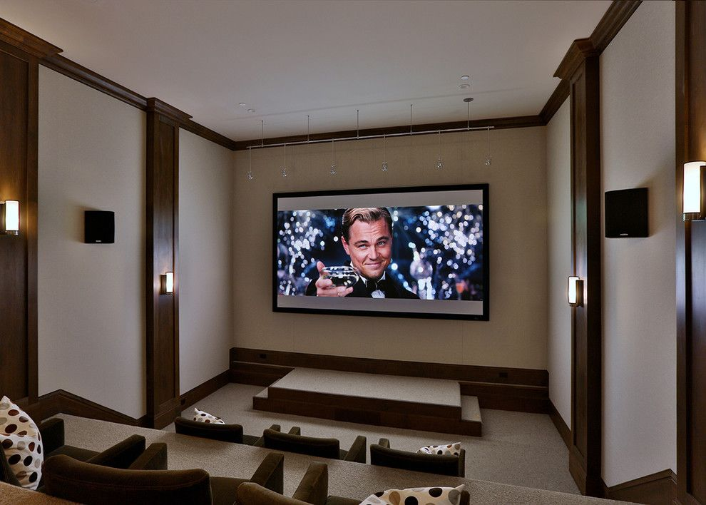 Bethesda Movie Theater for a Transitional Home Theater with a Stage and Atherton Farmhouse by Clarum Homes