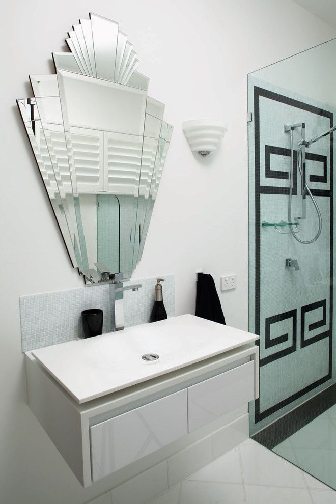 Beveled Edge for a Contemporary Bathroom with a Handheld Shower Head and Art Deco by French Interior Design Studio