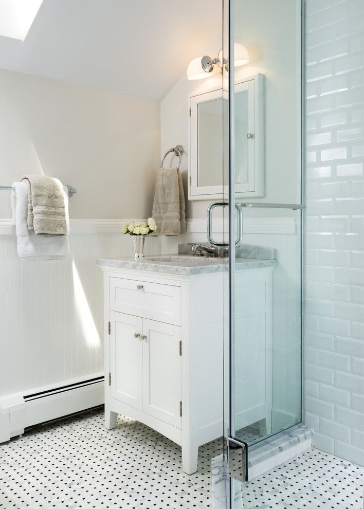 Beveled Edge for a Traditional Bathroom with a Subway Tiles and Chevy Chase Guest Bath by Haus Interior Design