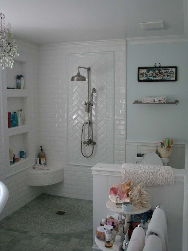 Beveled Edge for a Traditional Bathroom with a Traditional and Master Bath by Anta Design Studio
