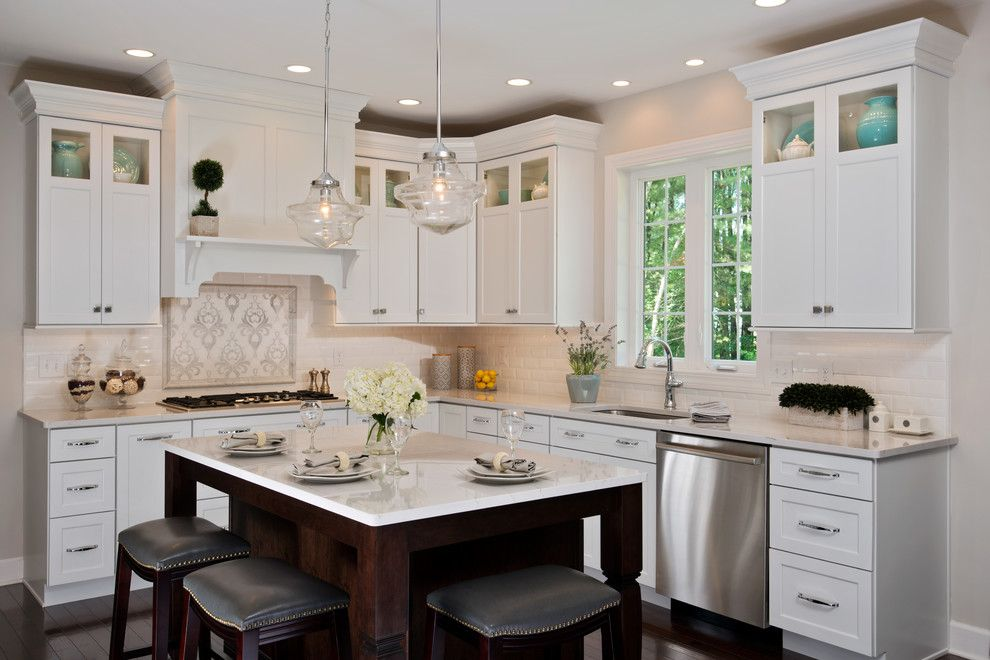 Beveled Edge for a Transitional Kitchen with a Balboa Mist and Transitional White Kitchen by Kitchen and Bath World, Inc
