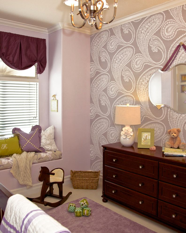 Beverly Fabrics for a Traditional Nursery with a Beverly Hills and Purple & Green Nursery - Mission Viejo, CA by Rockabye Mommy, LLC